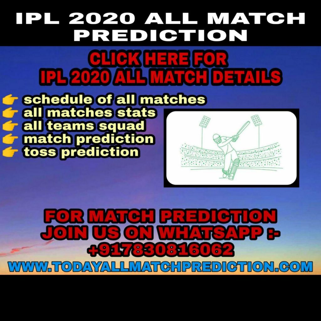IPL 2020 ALL MATCH PREDICTION